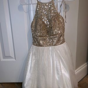 B Darlin white and gold semi formal dress